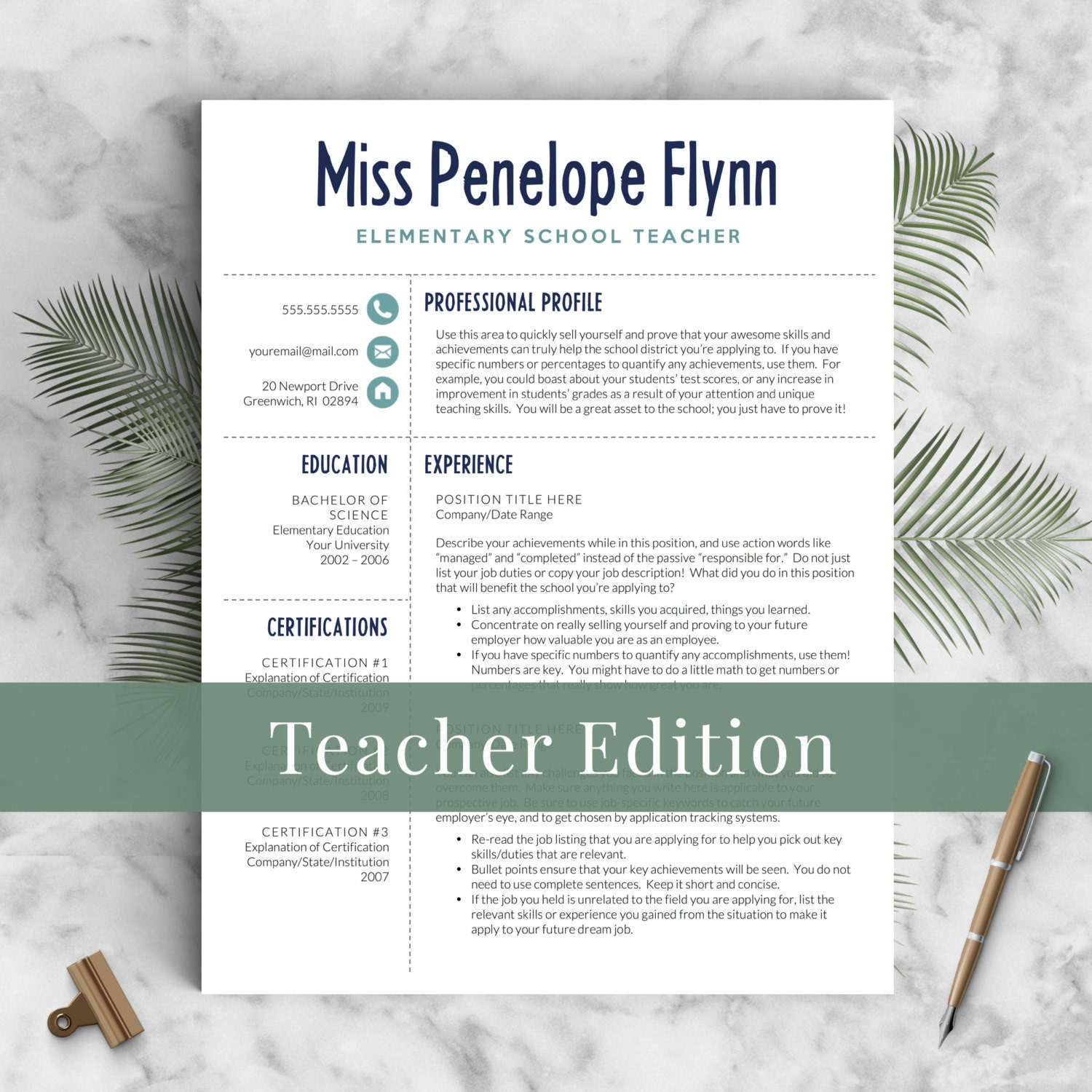 Elementary teacher resume template for word pages 1 3 zoom yelopaper Image collections