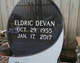 FREE Shipping! INSCRIPTION INCLUDED! Jet Black Teardrop Headstone and Base Headstone Tombstone Grave Marker Cemetery Headstone