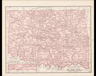 Small Oklahoma Map of Oklahoma State Map (1900s Color Map, Old Atlas Wall Art Print, Antique Map Decor) Vintage Map No. 67-3