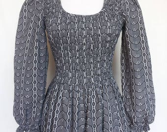 1970s Smocked Bodice Dress, Long Puffy Sleeves, Black Gray Print, Small, Extra Small