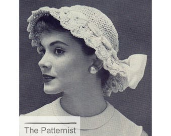 Vintage Crochet Pattern PDF Women's Hat - Sunhat Pattern - Pattern for Hat with Brim - Pattern for Crochet - Download SKU 91-2