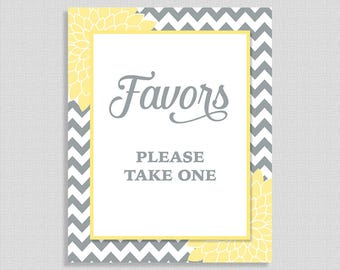 Favor Sign, Yellow & Grey Floral Mums Baby Shower Table Sign,  Gender Neutral, INSTANT PRINTABLE