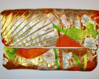Orange and Gold Two-way Fold Over Obi Silk Clutch Purse