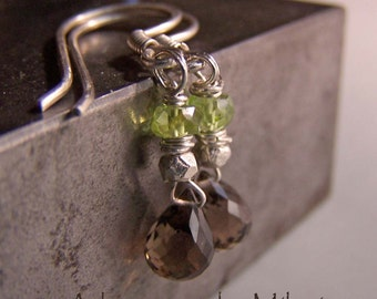 Brown Green Earrings Peridot Quartz Beaded Gemstone - Deciduous