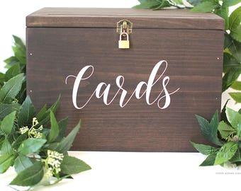 Wedding Card Box | Card Box with Lid and Lock | Wedding Card Holder | Rustic Card Box | Rustic Wedding Box | Custom Card Box - WS-255