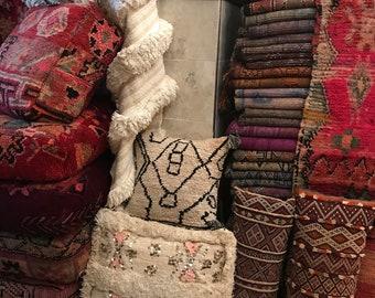 Moroccan pouf, carpet pillow, Beni Ourain pouf, floor cushion,pouf,carpet hassock,Beni ourain floor cushion