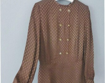 80s polka dot dress. S size. Brown polyester longsleeved dress with shoulder pads. In a very good vintage condition.