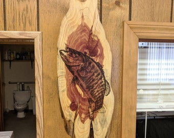 Smallmouth Bass Burned on Red Cedar Plaque