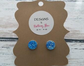 Metallic Ice Blue Earring Pair