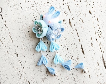 Plum Blossom and Moon Bunny Hair Clip, Kanzashi Flower, Kanzashi Hair Clip, Japanese Hair Clip, Kimono Accessories, Chirimen - Baby Blue
