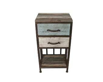 Industrial Chic 2 Drawers Wooden Bedside Table - Height 77cm