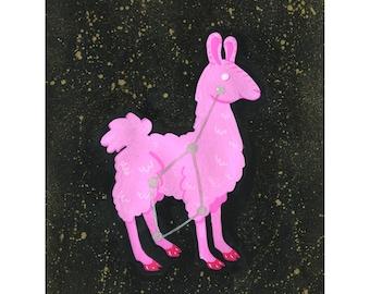 Cosmic Llama - Llama art - Llama illustration   Watercolor - 8x10