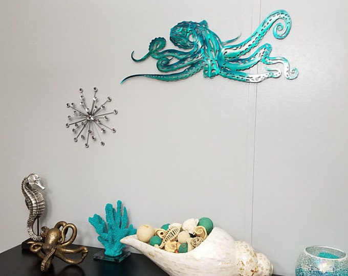Featured listing image: Octopus Metal Wall Art, Last Minute Christmas Gift, Aluminum Octopus, Ocean Art, Beach House Decor, Ready to Ship, Sea Life, Metal Wall Art