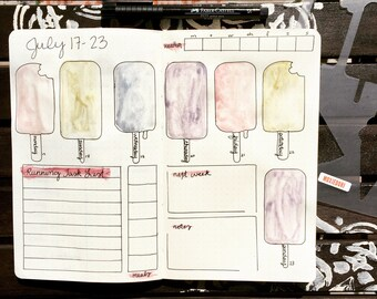 """Popsicle Ice Cream Stencil - Bullet Point Journal Stencil, fits Leuchtturm and Moleskine 5"""" by 7"""""""