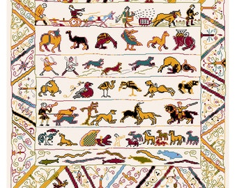 Animals from the Bayeux embroidery in cross stitch
