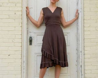 Organic Cotton Wrap Dress with Ruffle Bottom - Custom Made with 25 Colors to Choose From