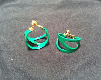 Clip Napier Earrings Hoop adjustable clip on Green
