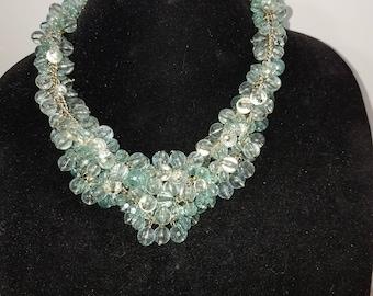 vintage aqua crystal choker