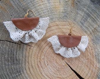 Brown leather earrings, lace earrings, genuine leather earrings, brown earrings,