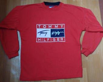 TOMMY HILFIGER sweatshirt vintage red shirt, 90s hip-hop clothing, 1990s hip hop shirt, Tommy big logo gangsta rap, sewn big logo, size L