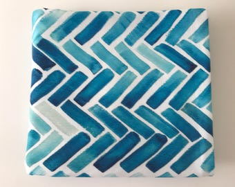 Watercolor Herringbone Blue and Turquoise Super Soft Stretch Jersey Swaddle Receiving Infant Blanket