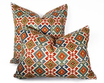 Southwestern Pillows, Colorful Pillows, Decorative Throw Pillows, Tribal Pillow, Navajo, Aztec Pillow Covers, Red Blue Cream, 18, 20, NEW