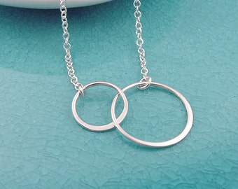 Double Eternity Circle Necklace, all sterling silver, sisters, best friends necklace, gift for her, eternal love