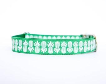 Pineapple Dog Collar in Green