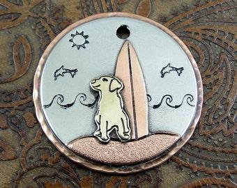 Handmade Dog and Surfboard Dog ID Tag-Personalized Dog Collar ID Tag-Pet ID Tag-Dog and Surfboard Keychain Fob or Luggage Tag