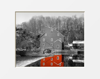 Black White Red Wall Art, Mill Decor, Pop Of Red, Red Mill Reflection