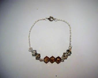 Bracelet perles toupie et chaîne