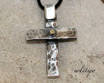Sterling silver Cross Necklace with black cord.. Personalized Handmade Cross.. Men's / Women's Cross pendant .