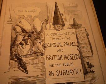 1855 - Puritan Penance John Leech Cartoon Victorian - Punch London Charivari - original magazine illustration early cartoon 8 by 10 framable