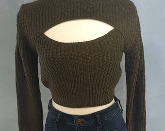 Knitted peep hole crop top