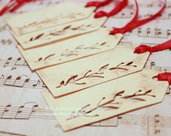 Christmas Tags (Double Layered) - Holly Tags - Cut-Out Tags- Handmade Vintage Inspired Christmas Gift Tags - Set of 5