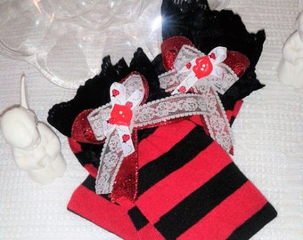 M'Lady's Valentine Ladies Thigh Hi Socks,Valentines Day Stockings,Red black Stockings,Over the knee stockings, valentine stockings,