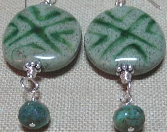 Free Shipping in US - SALE - Green Kazuri Cross Hatch Earrings - E679