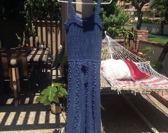 Long hand dyed Indigo knit dress
