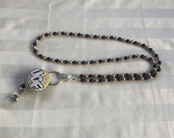 UCF ID Badge Beaded Lanyard Swarovski Pearls Black & Gold ID Badge Holder