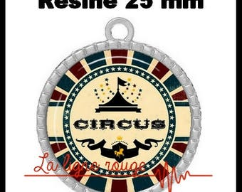 Silver color pendant round Cabochon 25 mm epoxy resin - Hall artists (523) - circus tent, circus, text, humor