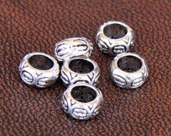 40 Tibetan metal spacers antique silver plated