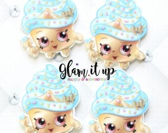 Shopkin bow center-cupcake queen gold Center- shopkin inspired Flatback resin- shopkin cabochon-shopkin hair bow center-hair bow