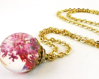 Necklace, Gold, Resin