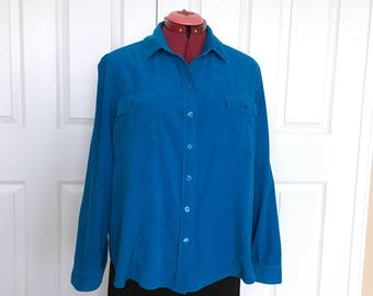 "Plus Size Corduroy Top , Women's top, Casual Wear Blouse , Turquiose Corduroy top, Layer wear Corduroy chest 48""  , Size Chico' s 3"
