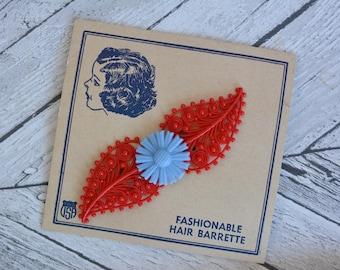 Vintage Deadstock Unused Hair Clip Barrette Red and Blue Plastic 1930s Original Card Packaging