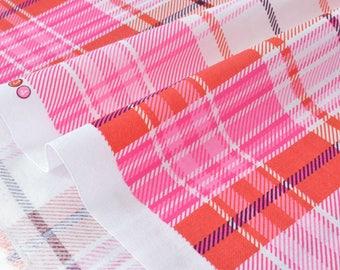 Fabric American checked Scottish x50cm pink tone