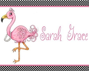Personalized Placemat-Flamingo-kitchen decor-custom-kids placemat-party favor-girl gift-beach decor-easter gift-coastal decor-monogram gift