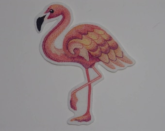 Caribbean Creatures Iron-on Patch. Embroidered Patch. Sew-On Patch Glew-on Patch Flamingo in watercolor