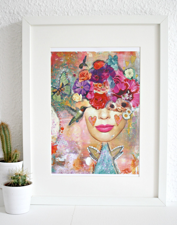 Hummingbird And Flower Whimsy Girl Art Print