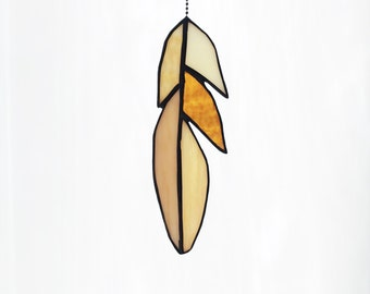 Stained Glass Cardinal Feather in Sand/Ecru colors